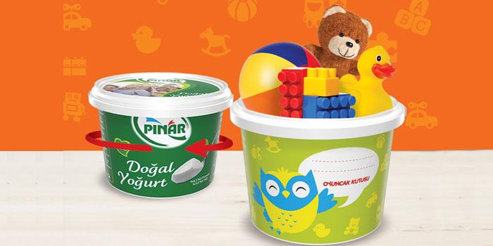 Pınar Yoğurt ambalajları oyuncak kutusuna dönüşüyor