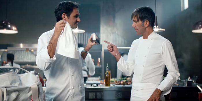 Roger Federer, şef Davide Oldani'e karşı