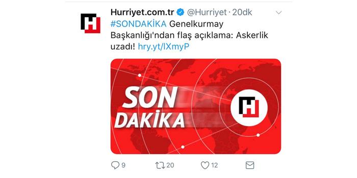 """Hürriyet'in """"askerlik uzadı"""" sahte haberine tepki yağıyor"""