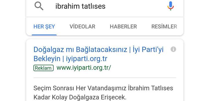 İYİ Parti'den dikkat çekici Google reklamları