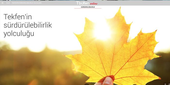 Tekfen'in kurumsal yayını TBülten, e-dergi olarak online