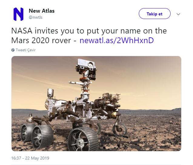 """NASA """"İsmini Mars'a gönderelim"""" projesi başlattı: Türkiye başvuruda 3. oldu"""