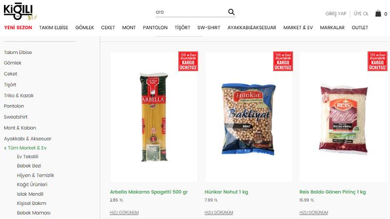 Kiğılı internet sitesinden market ürünleri satışına başladı
