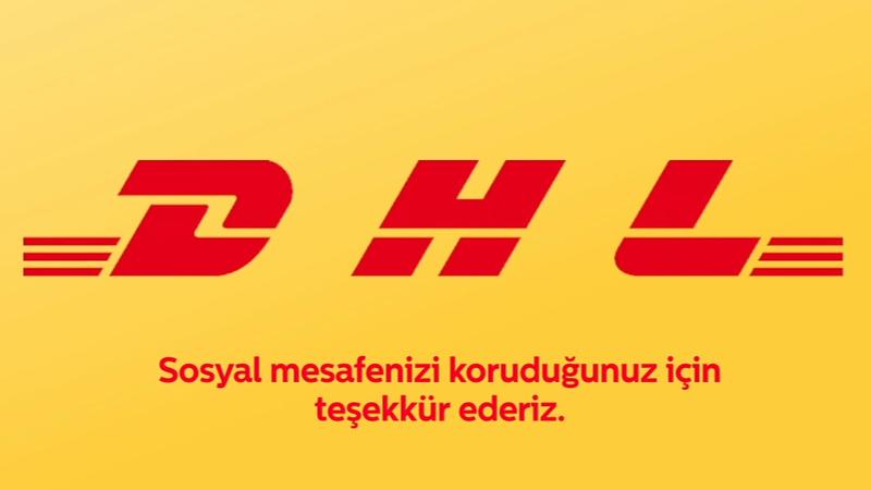 DHL Express, logosunu ayırarak sosyal mesafenin korunmasına dikkat çekiyor