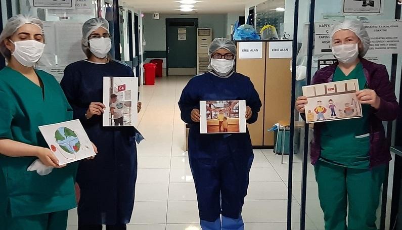 Çocuklar çizdikleri resimlerle sağlık çalışanlarına moral verdi