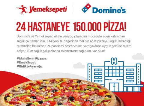 Sağlık çalışanlarına 150 bin adetlik pizza desteği