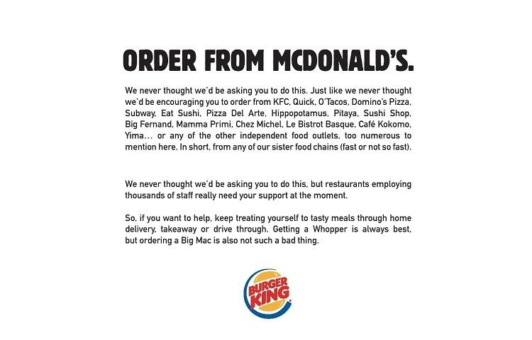 """Burger King'den müşterilerine çağrı: """"McDonald's'tan sipariş verin"""""""