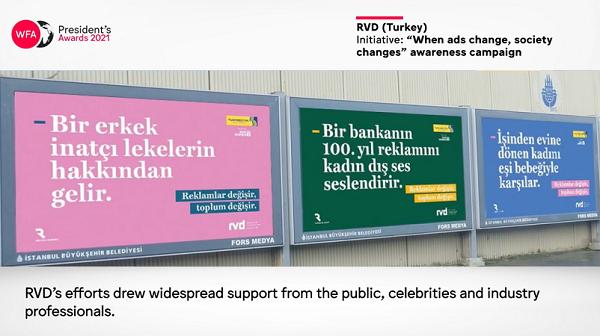 """""""Reklamlar değişir, toplum değişir"""" kampanyasına WFA'dan ödül!"""