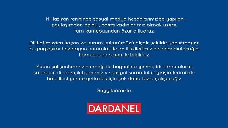 Dardanel'den olay yaratan paylaşımıyla ilgili ilk açıklama geldi