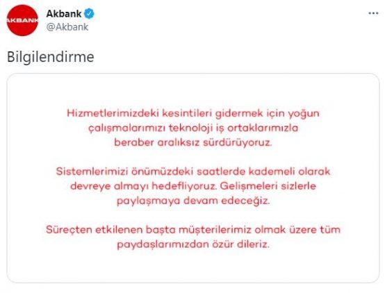 Akbank'tan sistem arızası ile ilgili yeni açıklama!