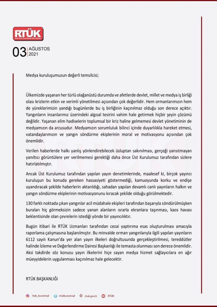 RTÜK'ün medya kuruluşlarına gönderdiği yazı
